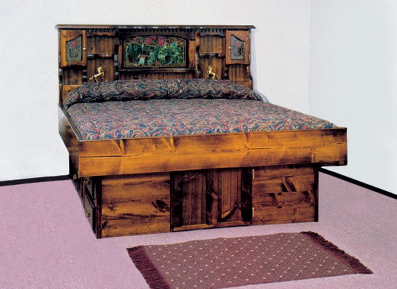 Queen Carolina Rose Wood Frame Waterbed