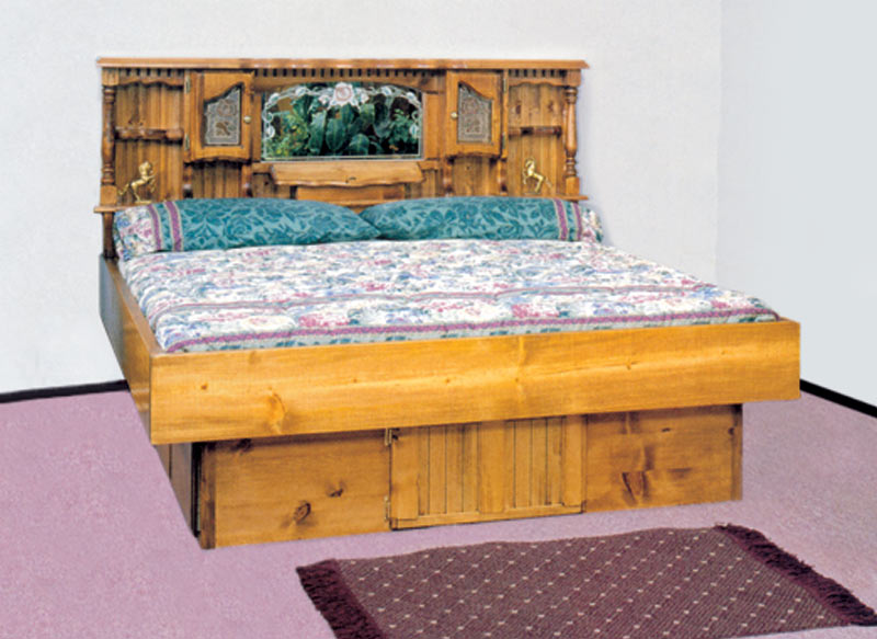 King Lexington Floral Wood Frame Waterbed & Waterbed Lexington Floral Complete-HBFRdeckped K King Pine ...