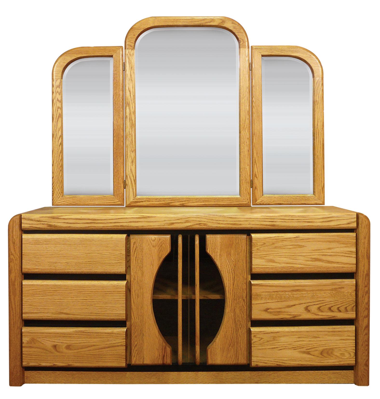 Waterbed Matrix Oak 6 Drawer Dresser with Tri View Mirror Matrix