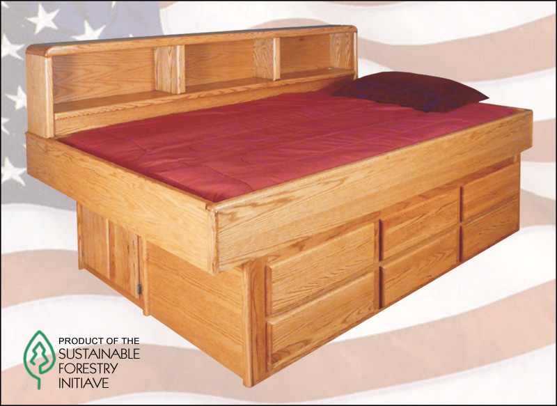 Waterbed Oak Youth Bed With 6 Drawer Ped SS Super Single
