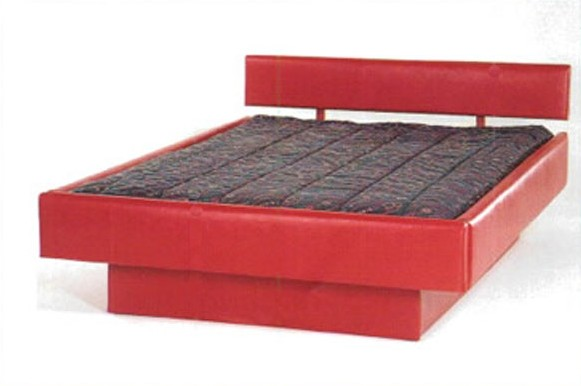 Super Single Red Vinyl 5-Board Wood Frame Waterbed