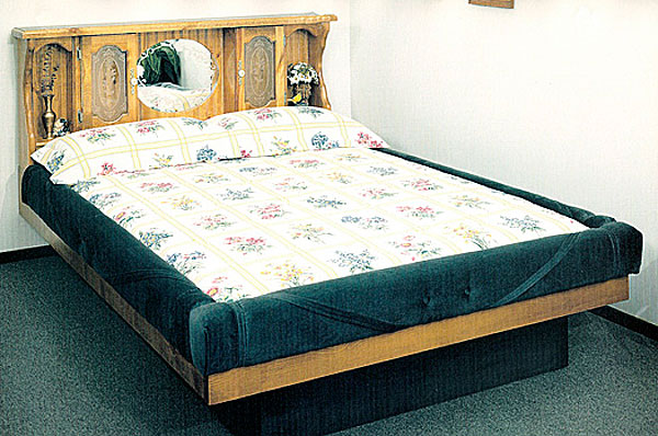 king valencia wood frame waterbed with designer padded rails - Water Bed Frame