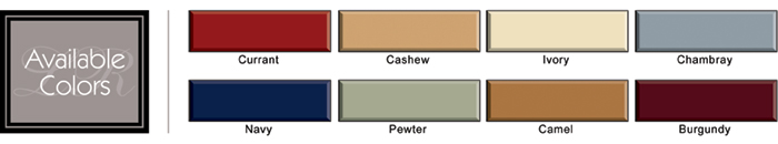 Convert-A-Fit Flannel Sheet color chart for wood frame water beds