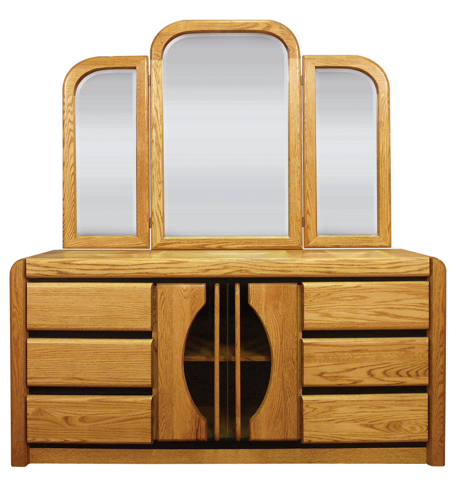 Matrix Oak 6 Drawer Dresser And Tri View Mirror